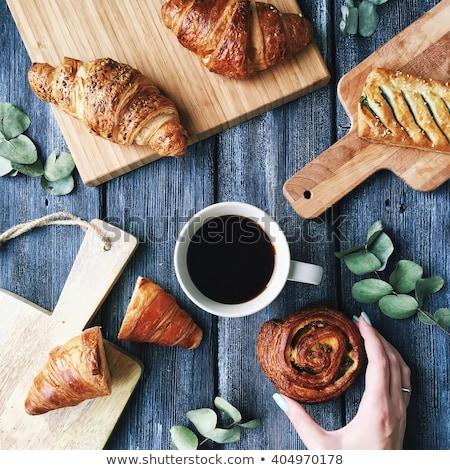 kawy · słodycze · drewniany · stół · studio · papieru - zdjęcia stock © studiotrebuchet