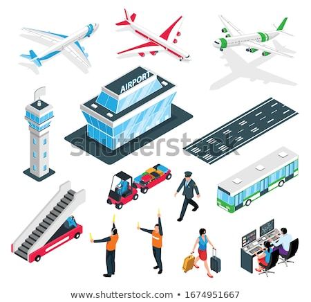 Airport terminal architecture isometric set Stock photo © studioworkstock