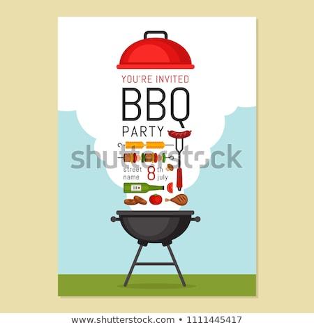 cozinhar · fogo · cartaz · carne · grelha · carvão · vegetal - foto stock © studioworkstock