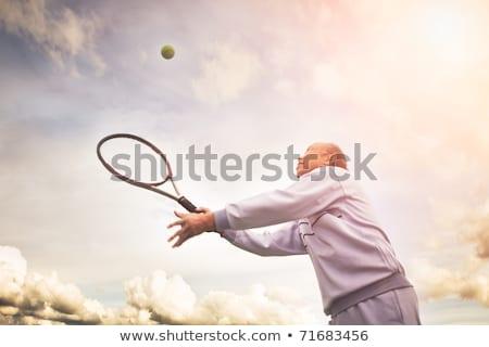 Stock fotó: Idősebb · férfi · adag · teniszlabda · sport · fitnessz