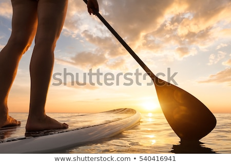 Silhouette of a beautiful woman on Stand Up Paddle Board Stock photo © FreeProd