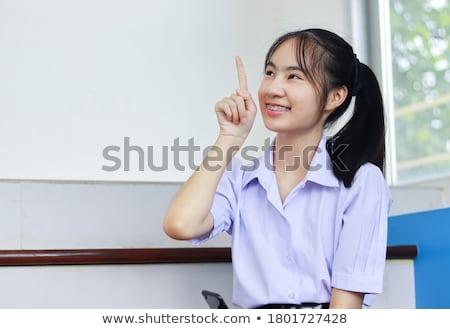 Komik kız pantolon askısı diş hekimliği sağlık diş hekimliği Stok fotoğraf © rogistok
