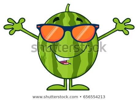 groene · watermeloen · vers · fruit · cartoon · mascotte · karakter · zonnebril - stockfoto © hittoon