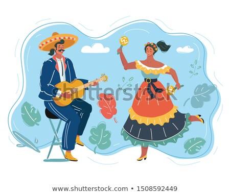 Cartoon · mexicano · hombre · sombrero · jugando · guitarra - foto stock © orensila