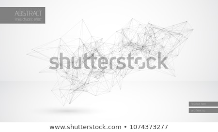 Abstract vector line cloud geometrical construction connected lines white background. Minimalistic Stock photo © Iaroslava