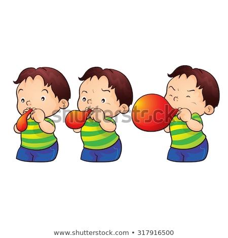 Fiú lépés léggömbök gyermek ajtó léggömb Stock fotó © IS2