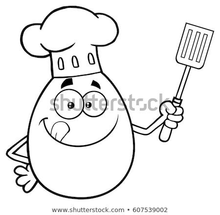 Chef Egg Cartoon Mascot Character Licking His Lips And Holding A Spatula Stock photo © hittoon