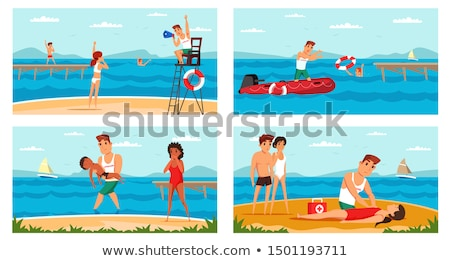 Strand badmeester vrouw pop art retro Stockfoto © studiostoks
