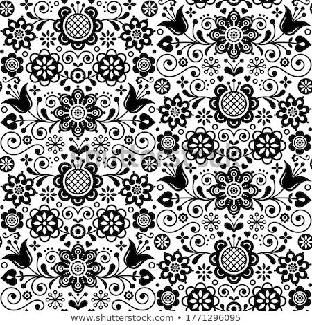 Folk heart design greeting card, Scandinavian floral vector pattern in black and white Stock photo © RedKoala