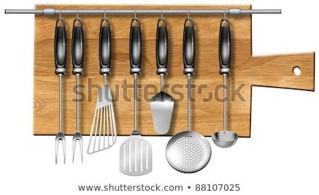 表 スプーン 空っぽ 木製 ハンドル 金属 ストックフォト © Digifoodstock