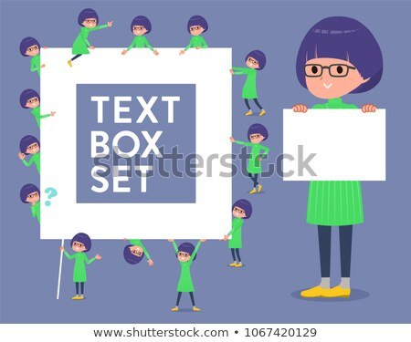 flat type Green clothes Glasses girl_text box Stock photo © toyotoyo