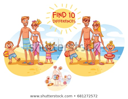 Find the 10 differences puzzle with answer. Cartoon summer beach and sea Stock photo © Natali_Brill