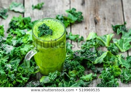 zöld · smoothie · szemüveg · hozzávalók · elrendezés · kevés · felszolgált - stock fotó © dash