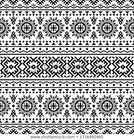 Monochrome Seamless Pattern with Ethnic Motifs Stock photo © lissantee