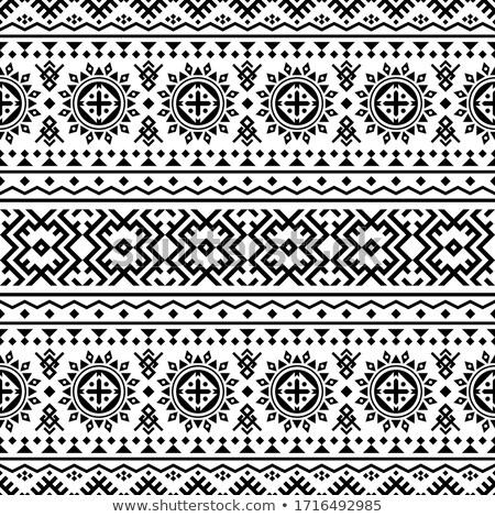 モノクロ 民族 モチーフ エンドレス テクスチャ ストックフォト © lissantee