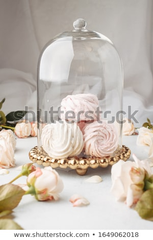 close up of zephyr or marshmallow on cake stand Stock photo © dolgachov