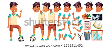 Boy Schoolboy Kid Vector. High School Child. Animation Creation Set. Face Emotions, Gestures. Teenag Stock photo © pikepicture