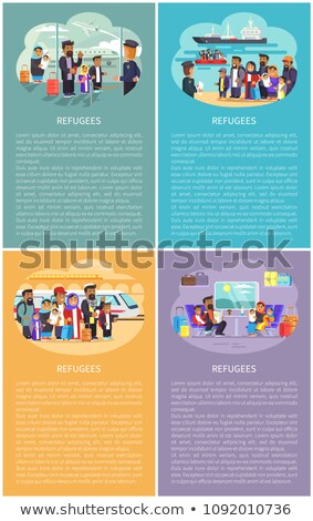 Refugee People Railway Station Vector Illustration Stock photo © robuart