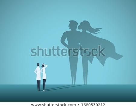 Szuperhős illusztráció női maszk grafikus rajz Stock fotó © colematt