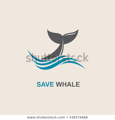 Baleia cauda água onda logotipo etiqueta Foto stock © blaskorizov
