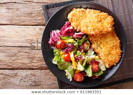 Салат домашний синий лист фон мяса Сток-фото © YuliyaGontar