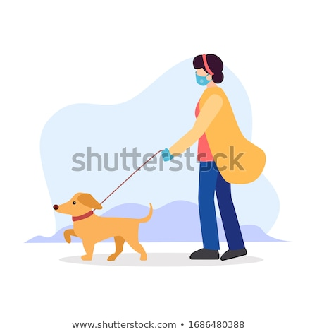 woman with a dog, a dog in a protective collar Stock photo © studiostoks