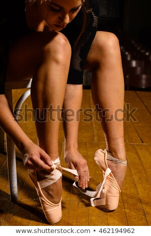 young beautiful ballet dancer in beige dress stock photo © doodko