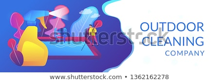 piscina · limpador · pólo · em · pé · profissional · piscina - foto stock © rastudio