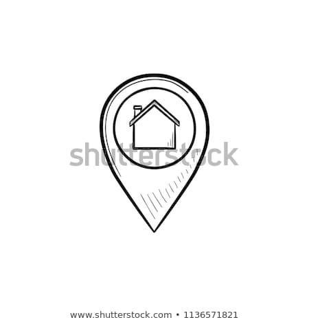 дома внутри рисованной болван икона Сток-фото © RAStudio