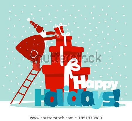 merry christmas santa claus decorating pine tree stock photo © robuart