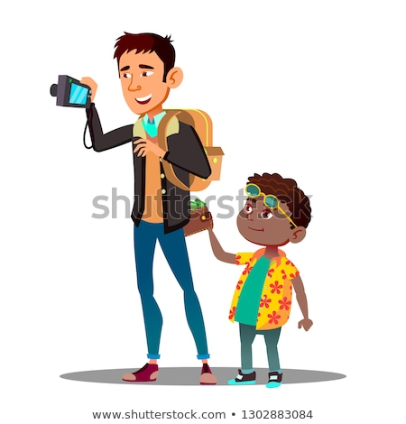 Boy Steals A Wallet From Back Pocket Of Jeans Of Man Tourist Vector. Isolated Illustration Stock photo © pikepicture