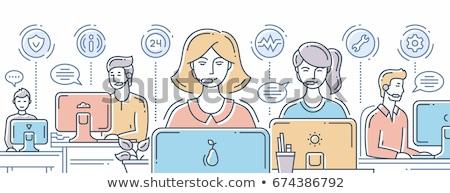 karikatür · operatör · ikon · call · center · kadın - stok fotoğraf © rastudio