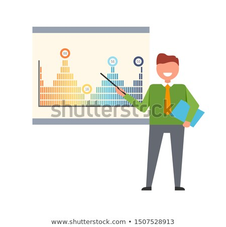 Presenter Pointing on Charts Peaks on Whiteboard Stock photo © robuart