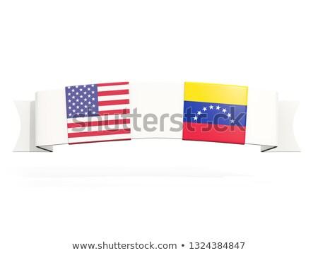 Szalag kettő tér zászlók Egyesült Államok Venezuela Stock fotó © MikhailMishchenko