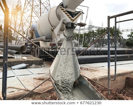 Inşaat makinalar beton mikser işçiler vektör Stok fotoğraf © robuart