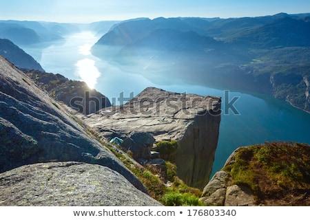 Uçurum Norveç seyahat kaya dağlar görmek Stok fotoğraf © Kotenko