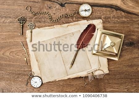 Antik posta óra rozsdás csontváz kulcs Stock fotó © neirfy