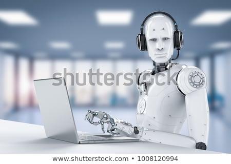 Humanoide robot oficina robots de trabajo oscuro Foto stock © limbi007