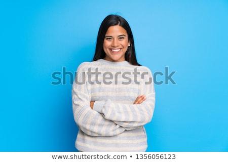 幸せ ブルネット 女性 セーター ポーズ 腕 ストックフォト © deandrobot