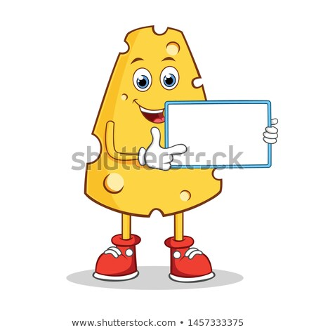 Happy Cheese Cartoon Character Holding A Blank Sign Stock photo © hittoon