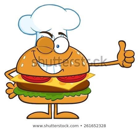 şef hamburger Stok fotoğraf © hittoon