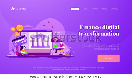 digitale · transformatie · landing · pagina · werk · laptop - stockfoto © rastudio