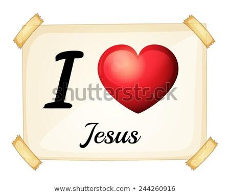 Sevmek İsa beyaz kâğıt kalp Stok fotoğraf © colematt