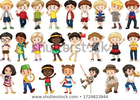 Rajz gyerekek betűk nagyobb csoport illusztráció boldog Stock fotó © izakowski