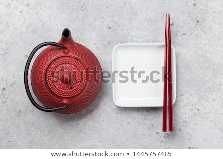 Lege plaat beker theepot eetstokjes kruidenthee Stockfoto © karandaev
