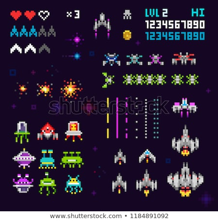 Space Ship Pixel Art Video Arcade Game Cartoon Stock photo © Krisdog