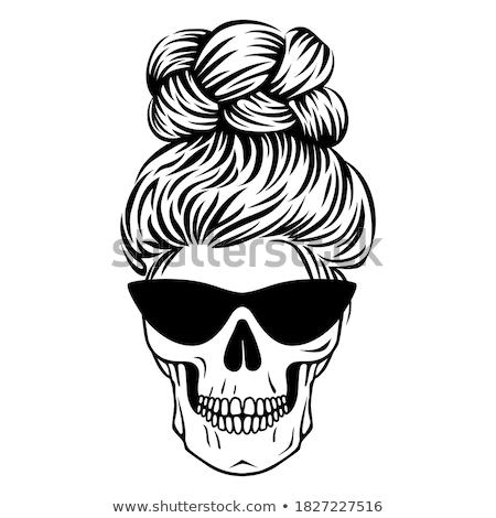 Stock fotó: Hippi · koponya · haj · kézzel · rajzolt · rajz · napszemüveg