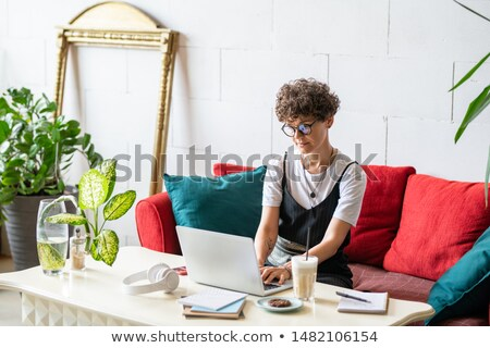 Young home office manager sitting on couch with pillows in front of laptop Stock photo © pressmaster