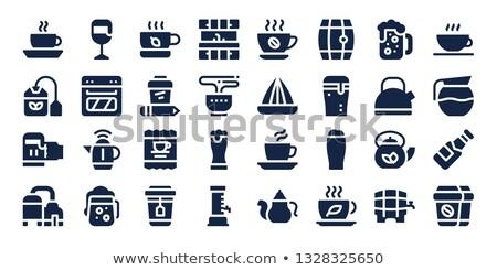 Koffiemok icon Blauw vector illustratie water Stockfoto © cidepix