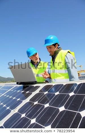 Manager werknemer fotovoltaïsche energiecentrale bespreken onderhoud Stockfoto © Kzenon